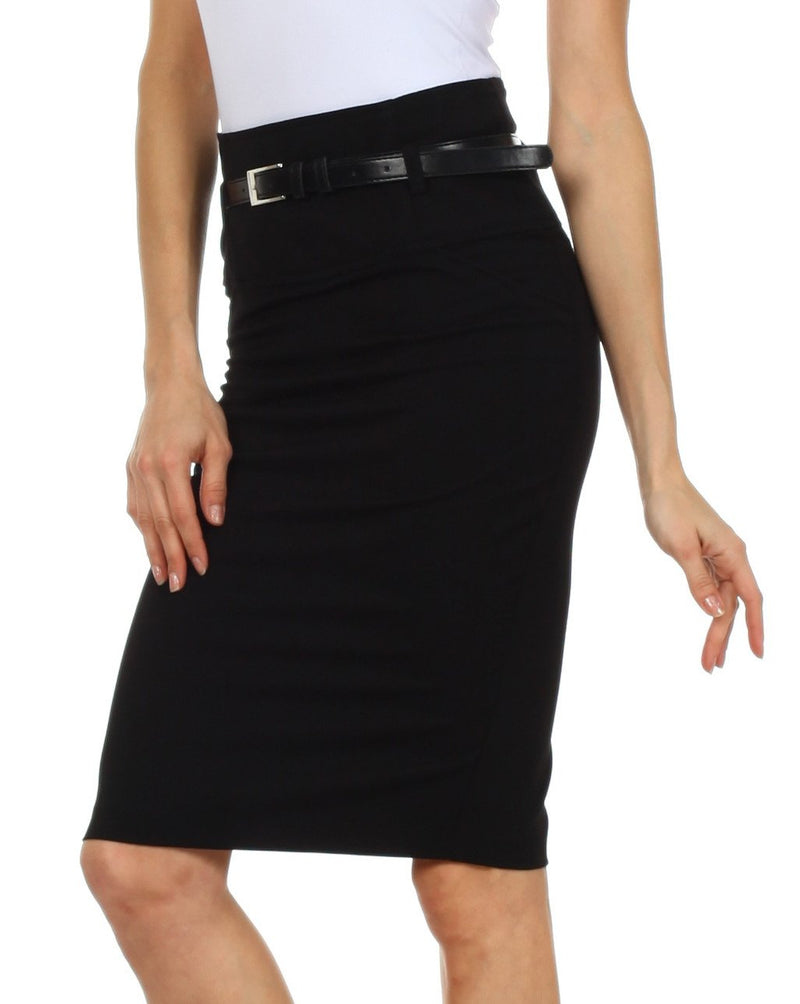 Knee Length High Waist Stretch Pencil Skirt with Skinny Belt