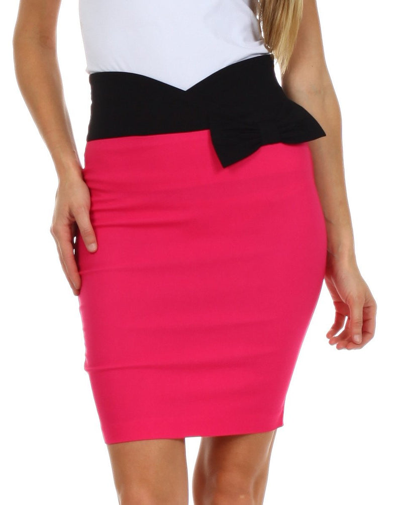 Sakkas Scallop High Waist Stretch Pencil Skirt with Bow