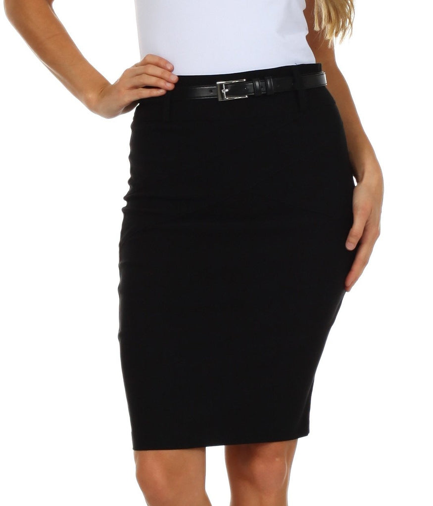 Knee Length Stretch Pencil Skirt with Skinny Belt