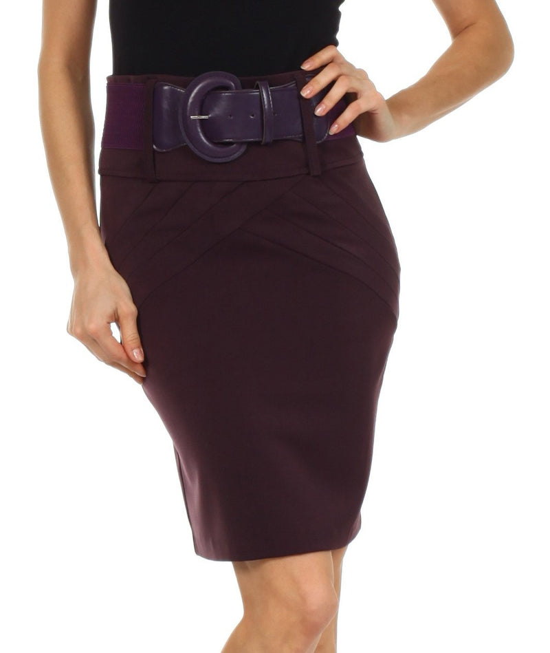 Petite High Waist Stretch Pencil Skirt with Wide Belt
