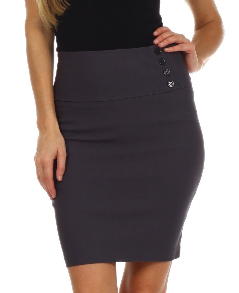 Above the Knee Stretch Pencil Skirt with Four Button Detail