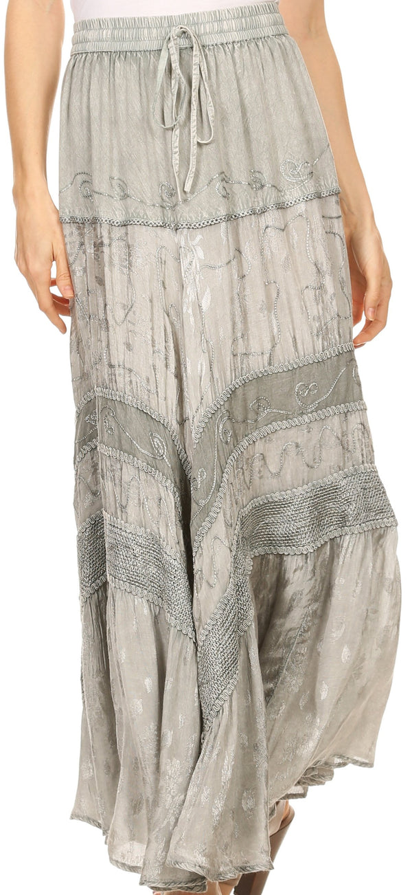 Sakkas Alber Adjustable Waist Boho Skirt With Detailed Embroidery With Ruffle Trim