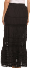 Sakkas 80123 - Gia Bohemian Adjustable Lace Embroidered Wide Lined Long Ethnic Skirt  - Black - OS