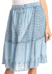 Sakkas Beyza  Casual Peasant Mid Skirt with Elastic Waist Embroidery and Eyelet