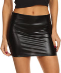 Sakkas Kaie Women's Shiny Metallic Liquid Wet Look Mini Skirt #color_Black