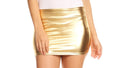 Sakkas Kaie Women's Shiny Metallic Liquid Wet Look Mini Skirt #color_Gold