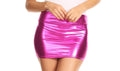 Sakkas Kaie Women's Shiny Metallic Liquid Wet Look Mini Skirt #color_Pink