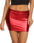 Sakkas Kaie Women's Shiny Metallic Liquid Wet Look Mini Skirt #color_Red