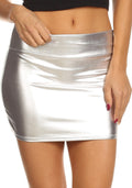 Sakkas Kaie Women's Shiny Metallic Liquid Wet Look Mini Skirt #color_Silver