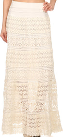 Sakkas Leo Long Tall Lined Embroidered Bohemian High Or Low Waist Foldover Skirt