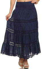 Sakkas Cassie Crochet Lace Trim Long Skirt With Fold-Over High Waistband