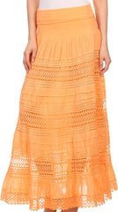 Sakkas March Bohemian Lace Embroidered Skirt With Lining And Foldover Waist
