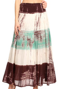 Sakkas Lucia Womens Bohemian Gypsy Convertible Fold Over Waist Skirt Flare Long#color_TD-Brown