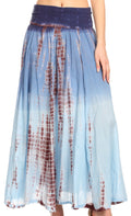 Sakkas Lucia Womens Bohemian Gypsy Convertible Fold Over Waist Skirt Flare Long#color_TD-Navy