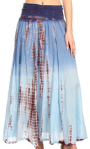 Sakkas Lucia Womens Bohemian Gypsy Convertible Fold Over Waist Skirt Flare Long