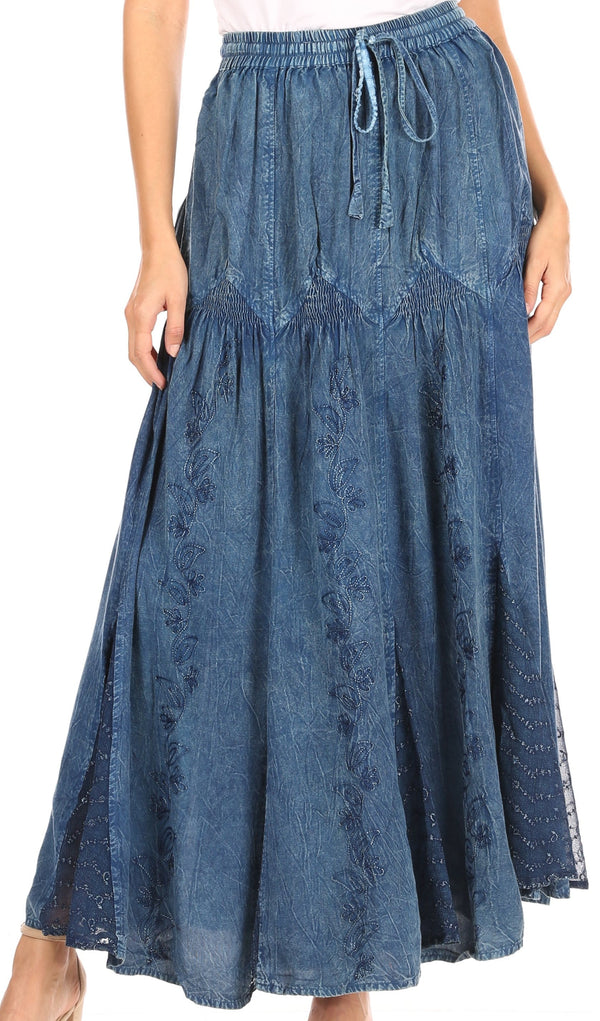 Sakkas Olivia Womens Maxi Bohemian Gypsy Long Skirt With Elastic Waist and Lace#color_Blue