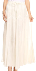 Sakkas Olivia Womens Maxi Bohemian Gypsy Long Skirt With Elastic Waist and Lace#color_Natural