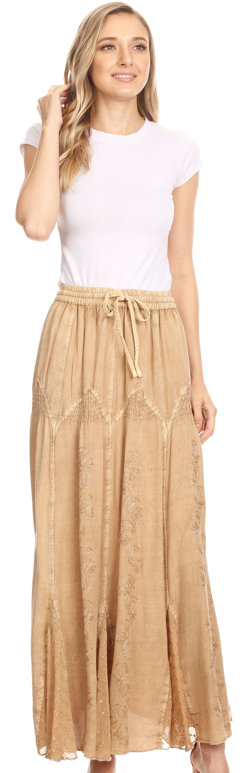 Sakkas Olivia Womens Maxi Bohemian Gypsy Long Skirt With Elastic Waist and Lace