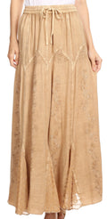 Sakkas Olivia Womens Maxi Bohemian Gypsy Long Skirt With Elastic Waist and Lace#color_Sand