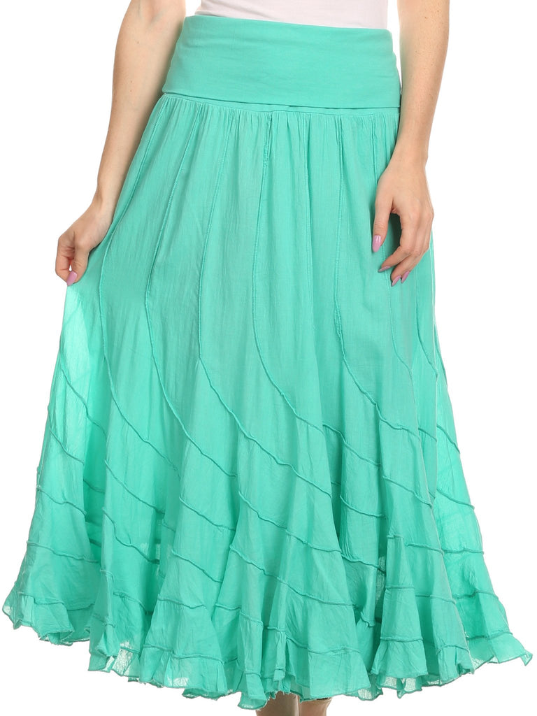 Sakkas Lika Long Ruffle Paneled Fold Over Adjustable High Waist Batik Flare Skirt
