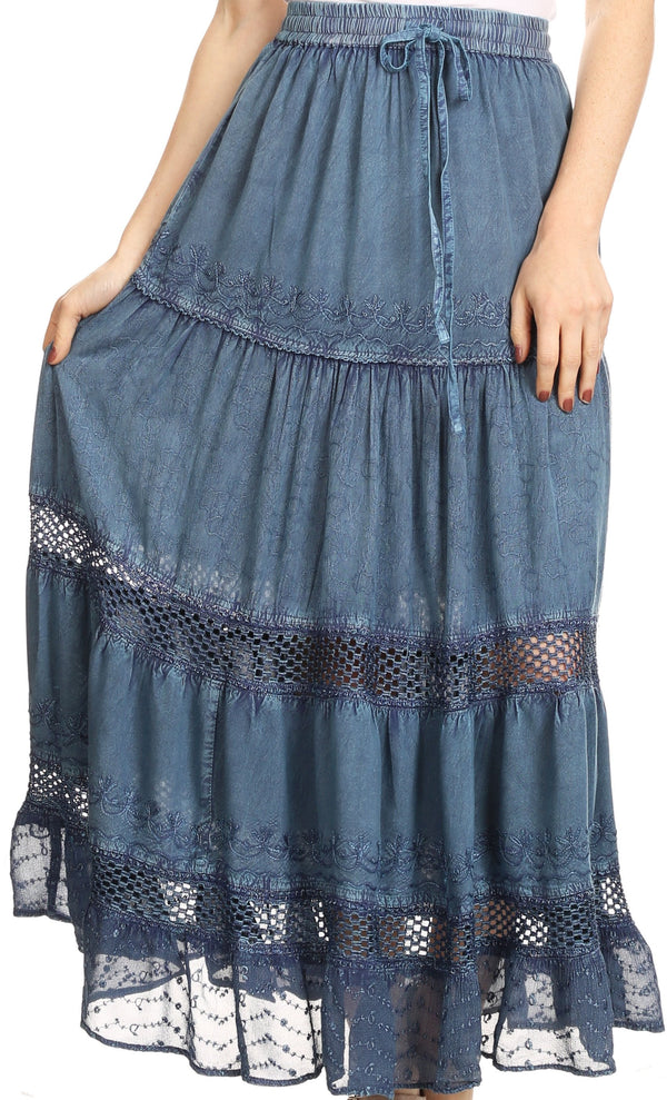 Sakkas Salina Boho Maxi Skirt with Embroidery and Crochet Lace  Adjustable Waist#color_Air Force Blue