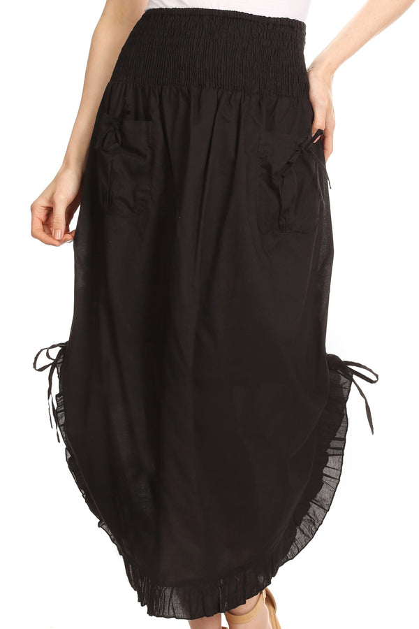 Sakkas Coco Long Cotton Ruffle Skirt with Pockets and Elastic Waistband#color_Black