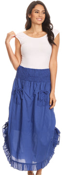 Sakkas Coco Long Cotton Ruffle Skirt with Pockets and Elastic Waistband