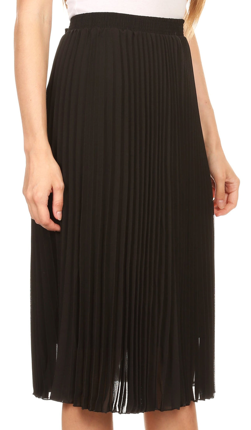 Sakkas Bianca Pleated Casual Mid Skirt with Elastic Waist and  Lining