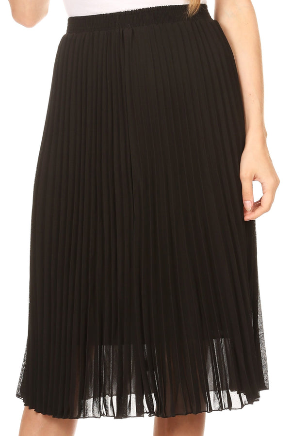 Sakkas Bianca Pleated Casual Mid Skirt with Elastic Waist and  Lining#color_Black