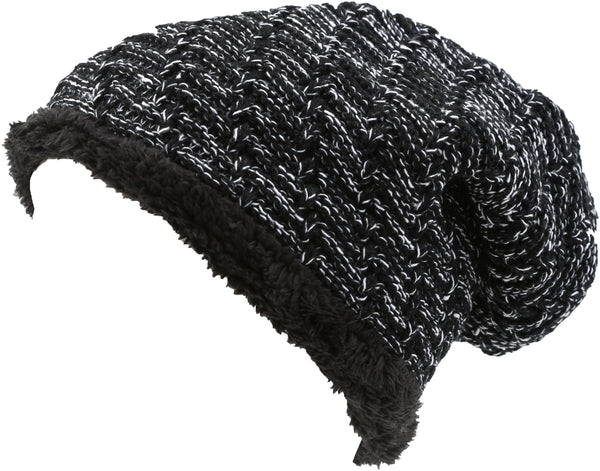 Sakkas Baldo Chunky Knit Faux Mint Lined Slouchy Hat Warm Unique Soft Unisex#color_YC16142-Black