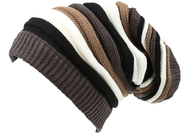 Sakkas Cosimo Unisex Slouchy Beanie Hat Simple and Casual Everyday Commuter#color_YC16144-Blackbrown