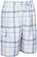 Sakkas Marious  Plaid Skate Surf Swim Trunks with Elastic Waist#color_White