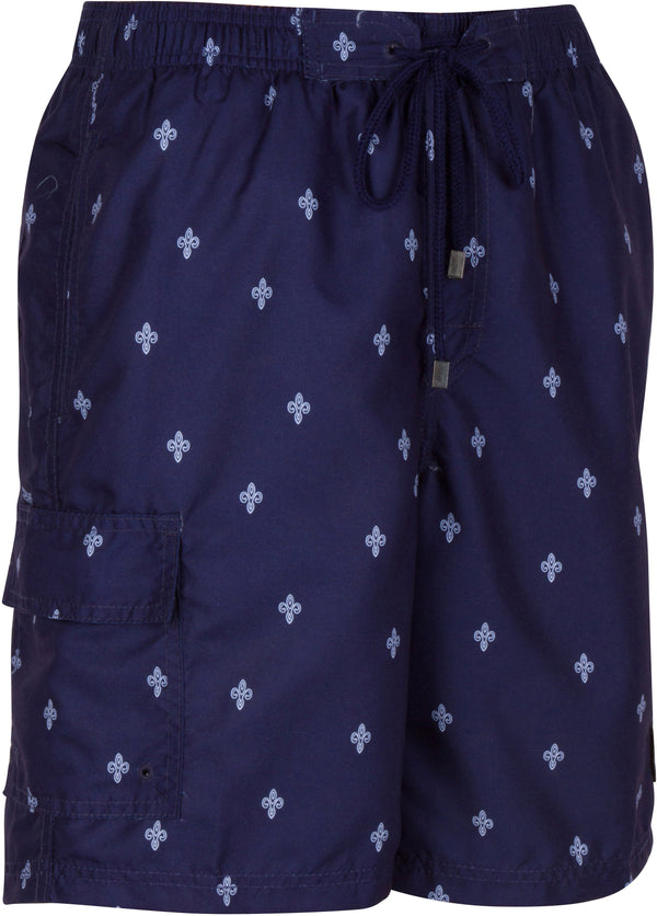 Sakkas Keone Fleur De Lis Patch Pocket Swim Trunk/Boardshort#color_Navy