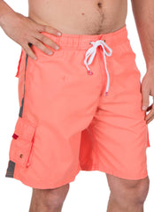 Sakkas Mens Solid Color with Contrast Stripes Skate Surf Board Short / Swim Trunks