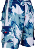 Sakkas Mens Multi Color Wave Design Skate Surf Board Short / Swim Trunks#color_Navy