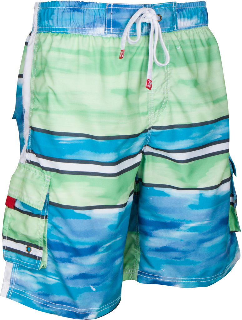 Sakkas Dominic Striped Watercolor Washed Skate Surf Board Short / Swim Trunk