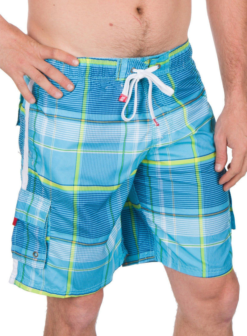 Sakkas Axel Plaid Stretch Waistband No Wet Swim Trunk/ Boardshorts