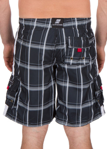 Sakkas Jaxon Plaid Stretch Waistband No Wet Swim Trunk/ Boardshorts