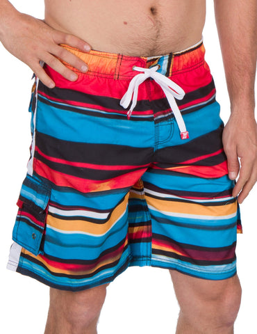 Sakkas Zayn Striped Stretch Waistband No Wet Swim Trunk/ Boardshorts