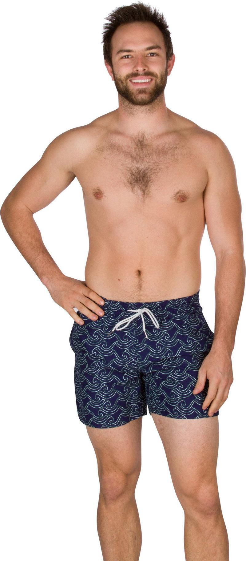 Sakkas Ollie Short Length Wave Dot Patterned Skate Surf Board Short / Swim Trunks