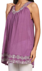 Sakkas Tyra  Sequin Embroidered Relaxed Fit Sleeveless V-Neck Top