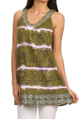 Sakkas Naya Sequin Embroidered Relaxed Fit Sleeveless V-Neck Top