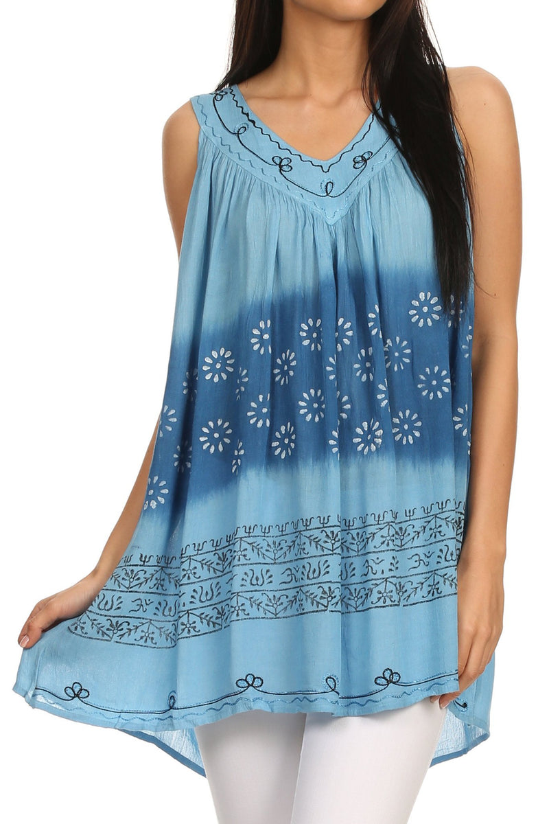 Sakkas  Lexi Embroidered two tone Sleeveless V neck Top
