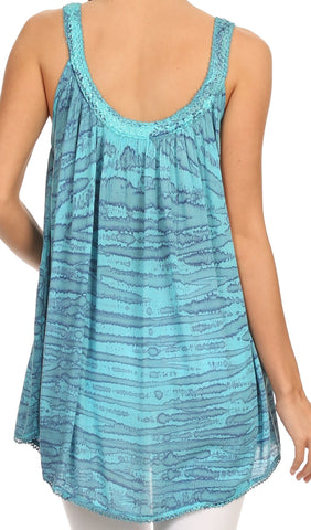 Sakkas Rachel Verigated Embroidered neck Picot trim Tank top