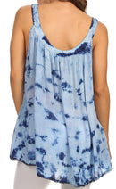 Sakkas Ashanti Embroidered Trim Picot Rayon Tie Dye Tank Top