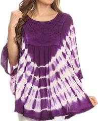 Sakkas Alannis Tie Dye Circle Poncho Top With With Wide Scoop Neck And Embroidery