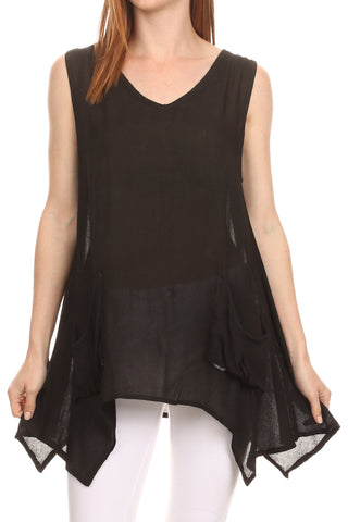 e7075a5c7ff Sakkas Oprah Sleeveless Tank Side Tail Blouse Shirt Top With Two Front  Pockets ...