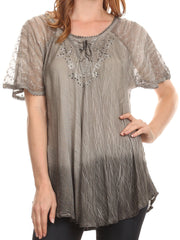 Sakkas Vilma Long Blouse With Embroidery Lace Cap Sleeves And Corset Enclosure