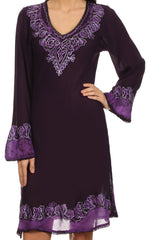 Sakkas Amme Batik Embroidered V-Neck Long Sleeve Blouse / Tunic