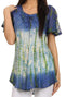 Sakkas Dina Relaxed Fit Sequin Tie Dye Embroidery Cap Sleeves Blouse / Top#color_Blue / Beige